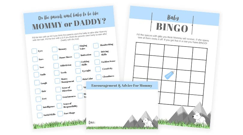 Mountain Theme Boy Baby Shower Games To Print