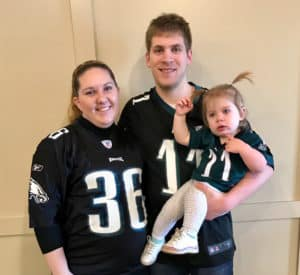 Portrait of our family in Eagles Jerseys before 2017 playoff game against the Vikings - NFL 2017
