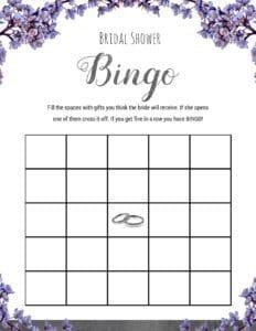 Bridal Shower Games To Print - Bridal Bingo