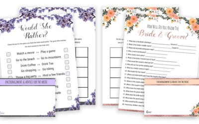 Bridal Shower Games Printables – Would She Rather & Bride Or Groom