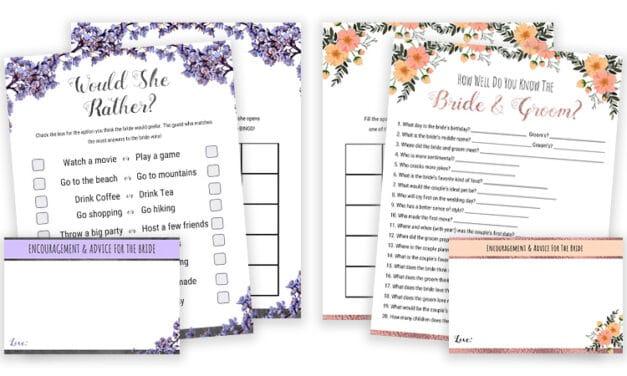 Bridal Shower Games Printables – Would She Rather & Bride Or Groom