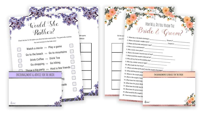 image about Bridal Shower Games Printable identified as Bridal Shower Game titles Printables - Would She Fairly Bride Or
