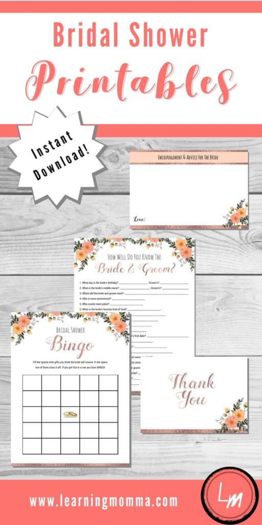 bridal shower games to print rose gold