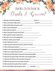 bridal shower games to print how well do you know the bride and groom