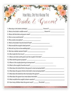graphic regarding Free Printable Bridal Shower Games How Well Do You Know the Bride identified as Bridal Shower Game titles Printables - Would She Instead Bride Or