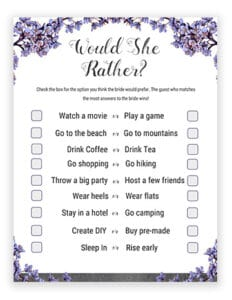 photo regarding Would She Rather Bridal Shower Game Free Printable referred to as Bridal Shower Online games Printables - Would She Instead Bride Or