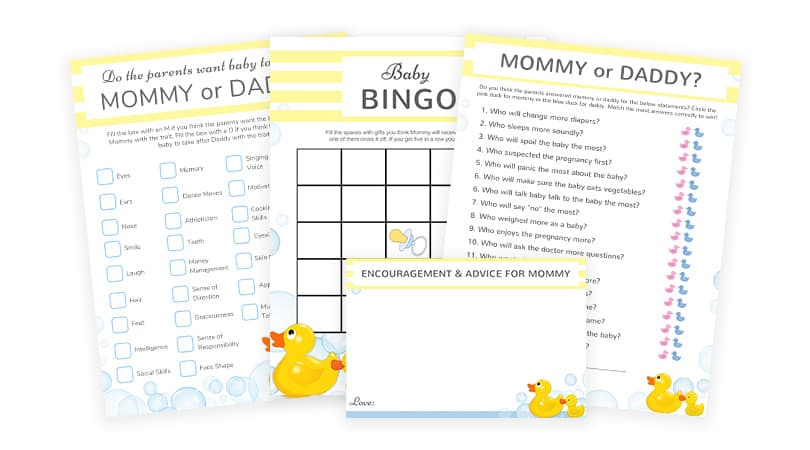 Rubber Ducky Baby Shower | Games & Advice Cards To Print