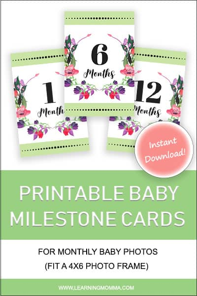 Baby Milestone Cards - Green & Floral