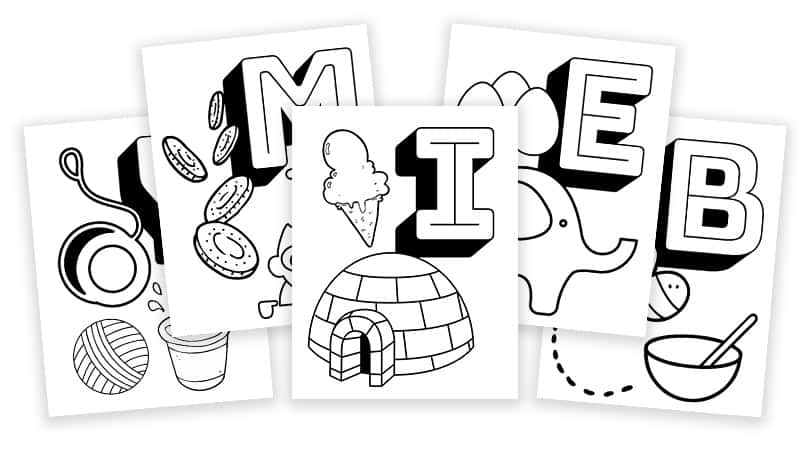Free Printable Coloring Pages - Alphabet Learning With Objects