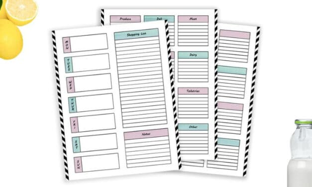 Free Weekly Meal Planning Template With Categorized Grocery List