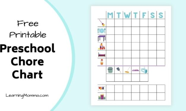 Free Printable Chore Chart For 4 Year Olds – With Pictures!